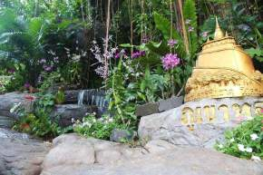 The Golden Mountain Entrance with Lush Garden and Waterfall