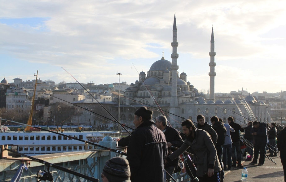 Fishing for a Living at Galata Bridge