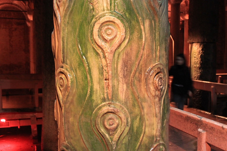Reversed Teardrop Carvings on a Column