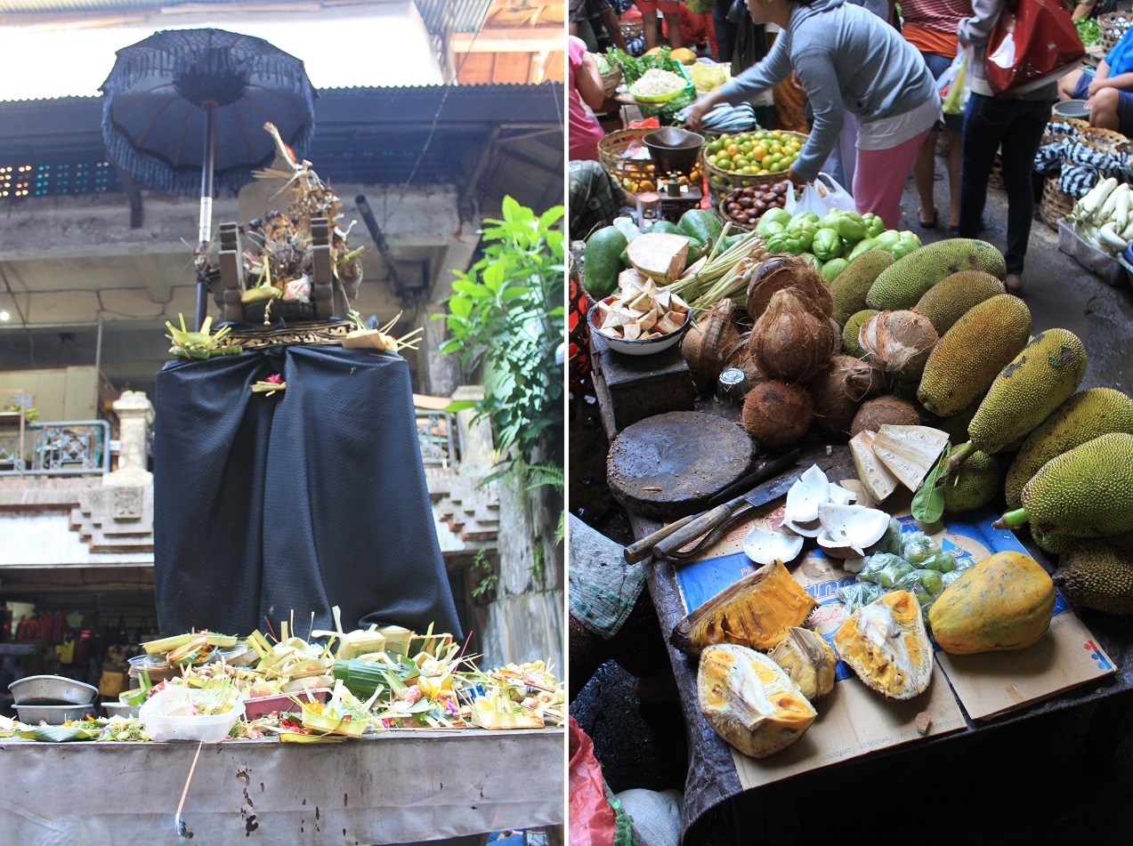 A Small Spirit House in the Middle of the Market (left); Jackfruits for Sale
