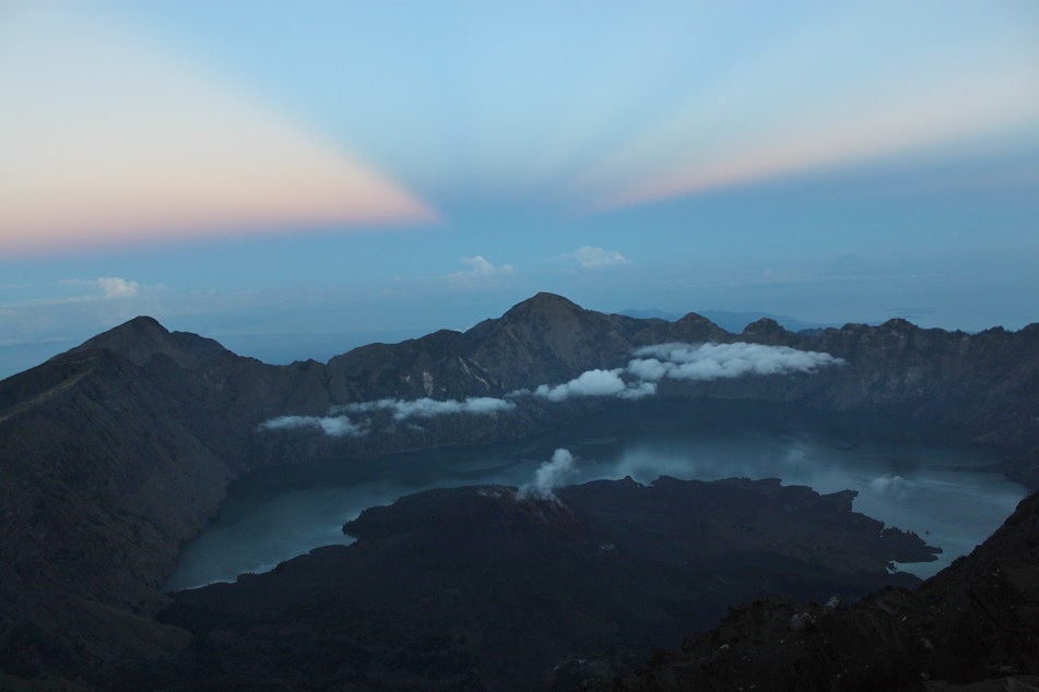 Segara Anak and Mount Baru, Overlooked by the Mighty Peak of Rinjani