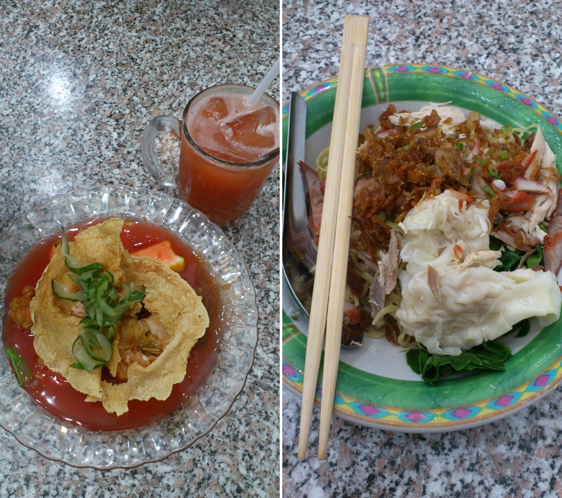 Left: Tau Kua Heci and Tamarillo Juice; Right: Tiongsim Noodle