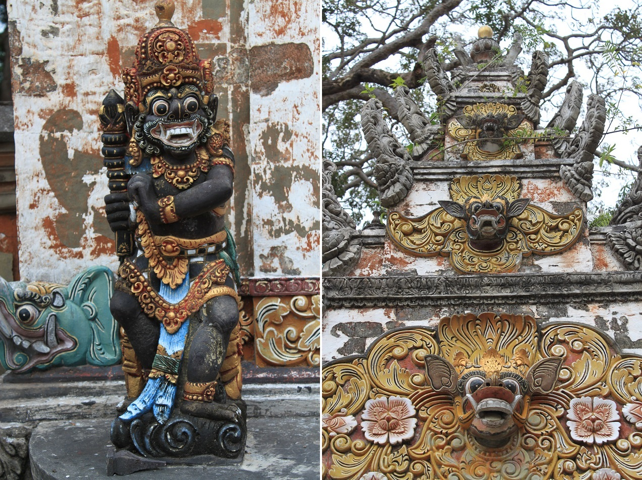 Statues of A Temple Near Nusa Lembongan's Mangrove Forest