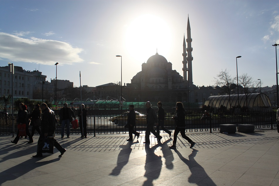 Commuters in Front of Yeni Camii, One of the Many Mosques in This Secular City
