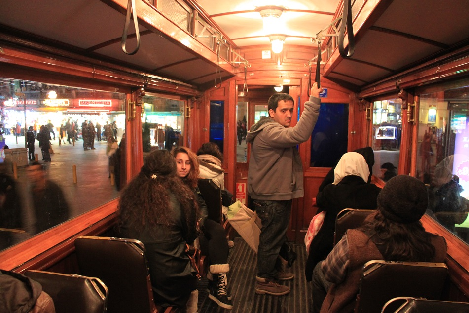 Commuters inside the Historic Tram at İstiklal Avenue