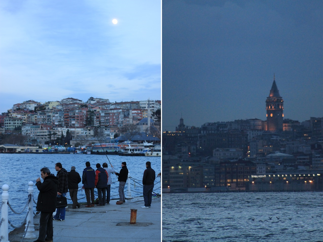 Left: Locals Hanging Out at the Shore of Üsküdar; Right: Galata Tower at Night