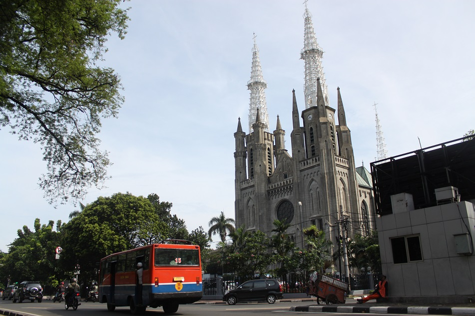 Jakarta Cathedral, across Istiqlal Mosque