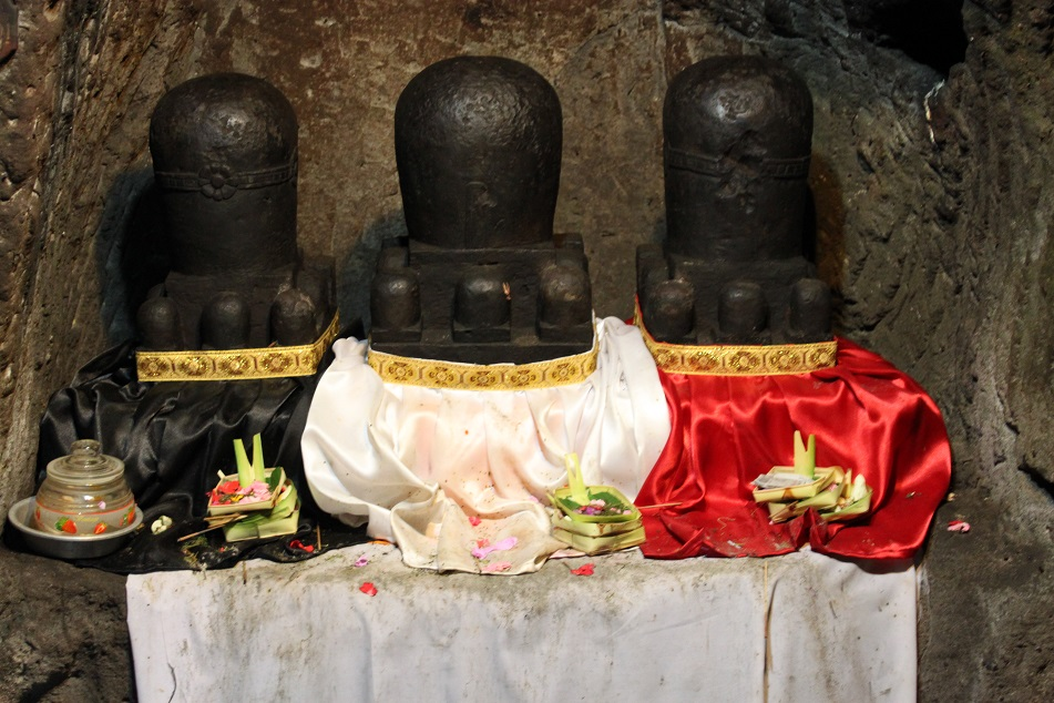Three Linggams Symbolizing Shiva, Brahma and Vishnu at Goa Gajah