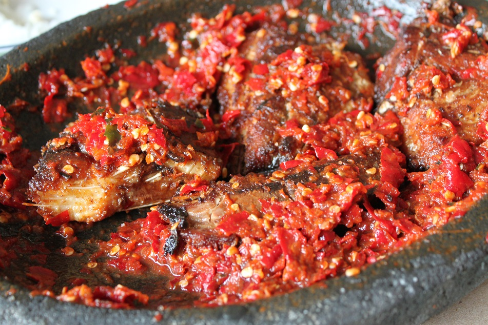 Smoked Ray with Generous Sambal (Ground Chilies)