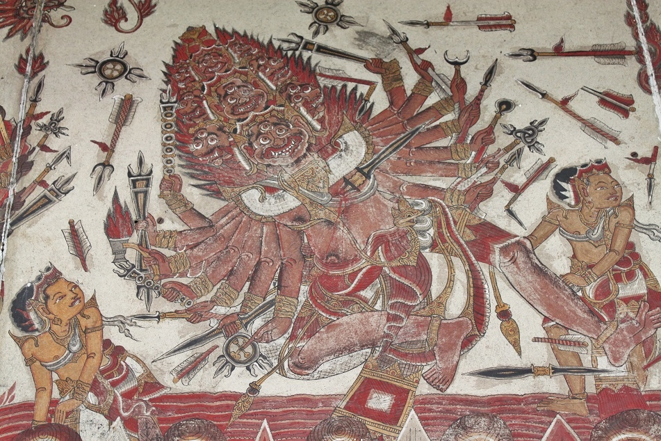 A Ceiling Panel at Kerta Gosa Depicting Vishnu with Many Arms