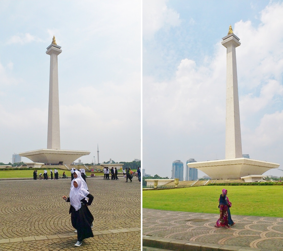 Muslim Women Walking around Monas