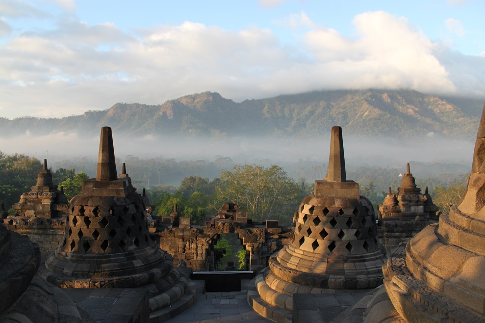 Sunset at Borobudur, A 9th Century Buddhist Temple