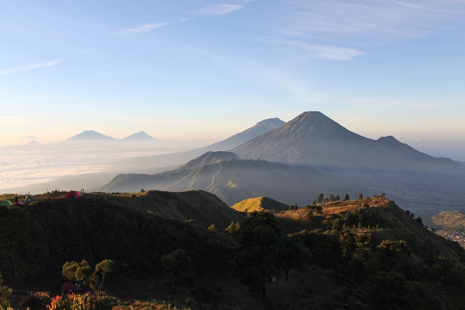 Java's Volcanoes Seen from Mount Prau, Dieng