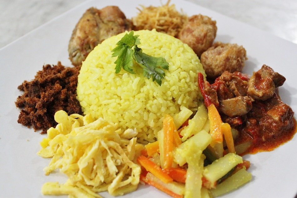 Nasi Kuning with Side Dishes