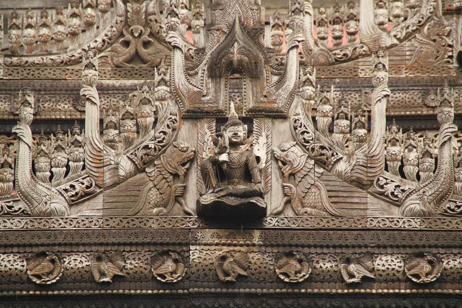 Intricate Carvings of Shwenandaw Monastery, Mandalay