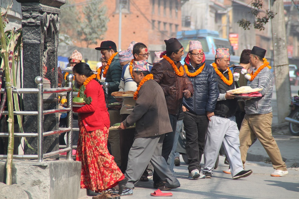 Local Men and Women with Offerings, Pokhara