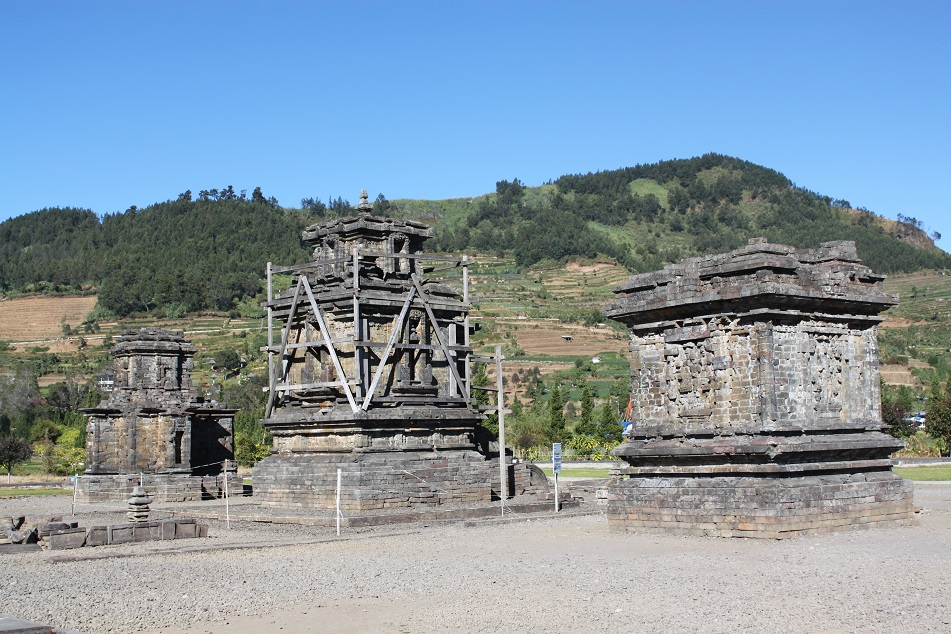 Candi Puntadewa (left), Sembadra (center) and Srikandi