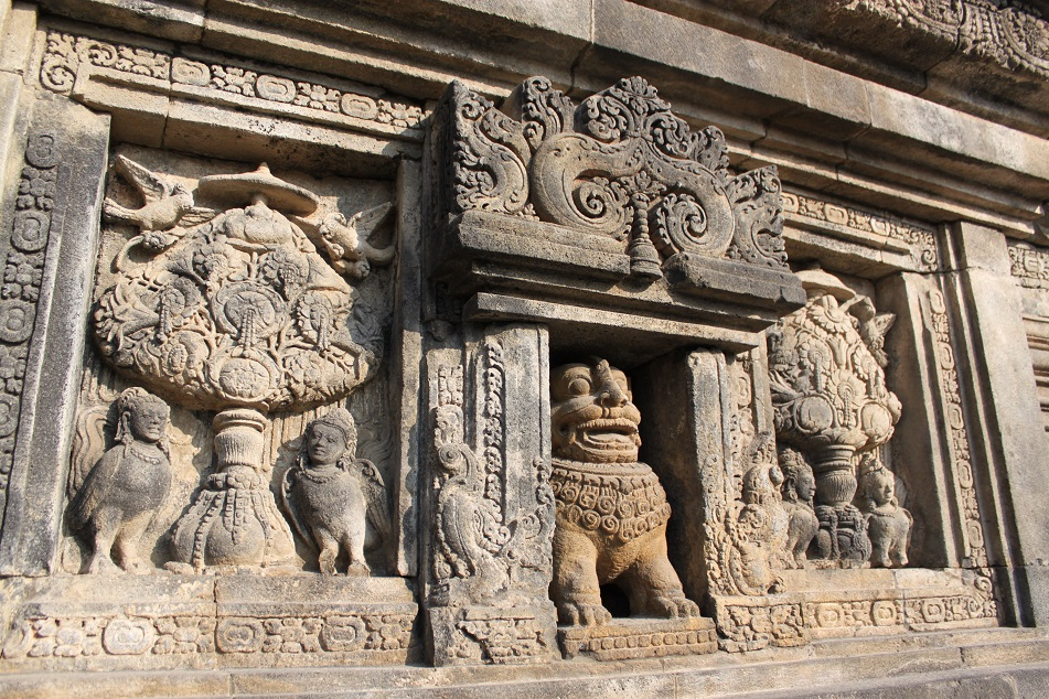 Relief Panel of A Lion, Kinnaras, and Kalpataru Trees