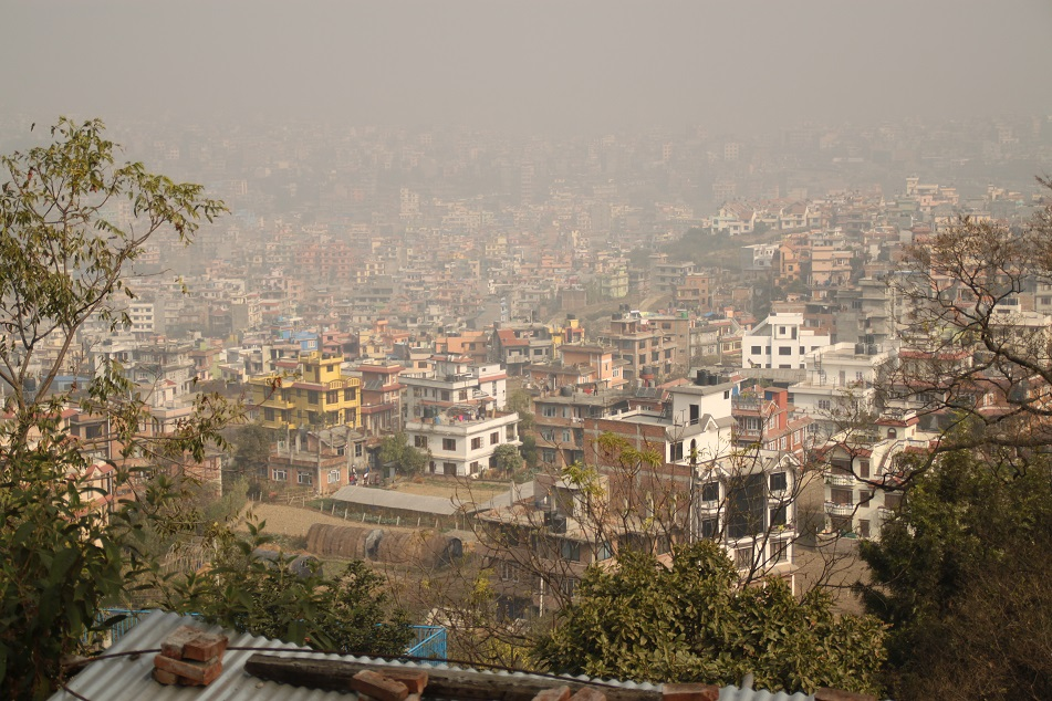 View of the Crowded and Polluted Kathmandu Valley