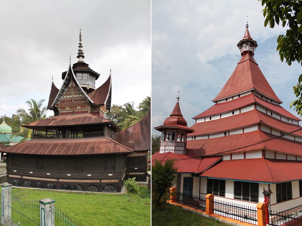 Surau Lubuk Bauk (left) and Masjid Limo Kaum