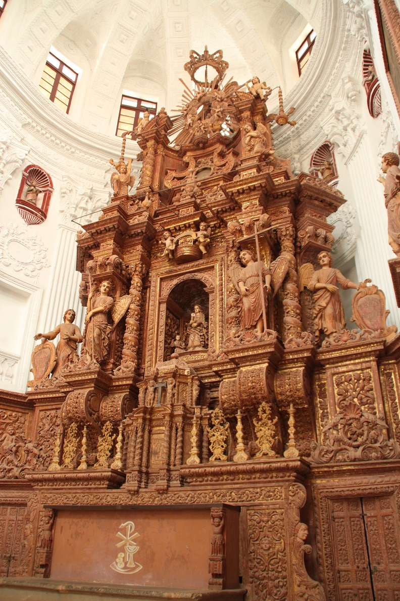Intricately-Carved Wooden Altar inside Church of St. Catejan
