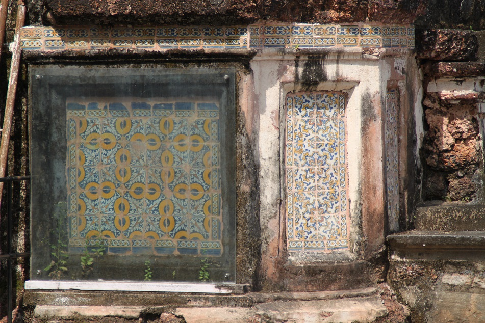 Conserved Portuguese Tiles amid the Ruins