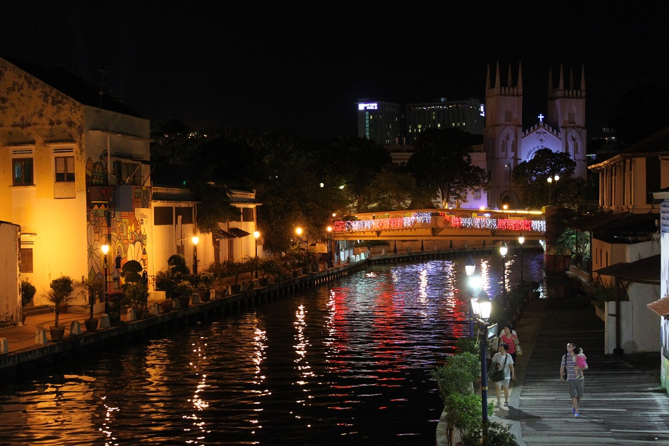 Malacca River and Church of St. Francis Xavier