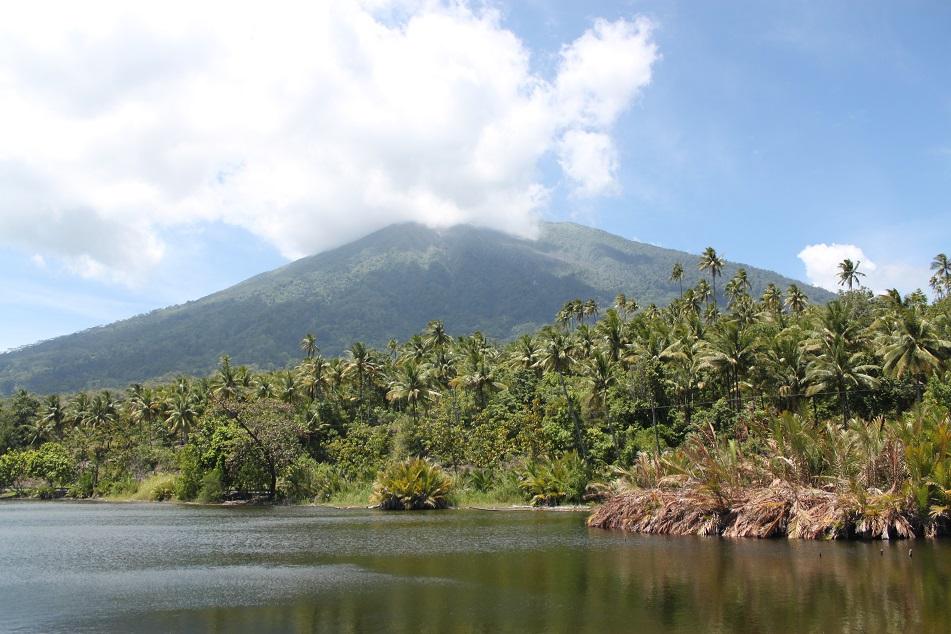 Mount Gamalama and Lake Tolire Kecil