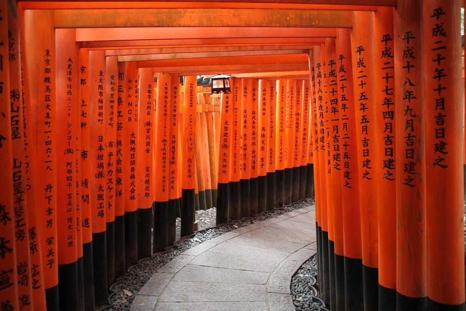 Endless Vermilion Torii (Japanese Gate) at Fushimi Inari Taisha